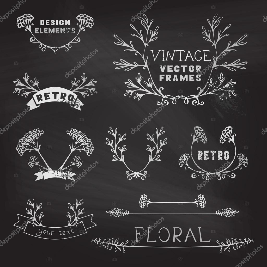 Set of chalk floral design elements.