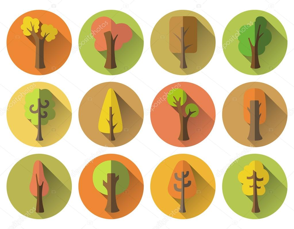 Set of 12 autumn round icons with long flat shadow.