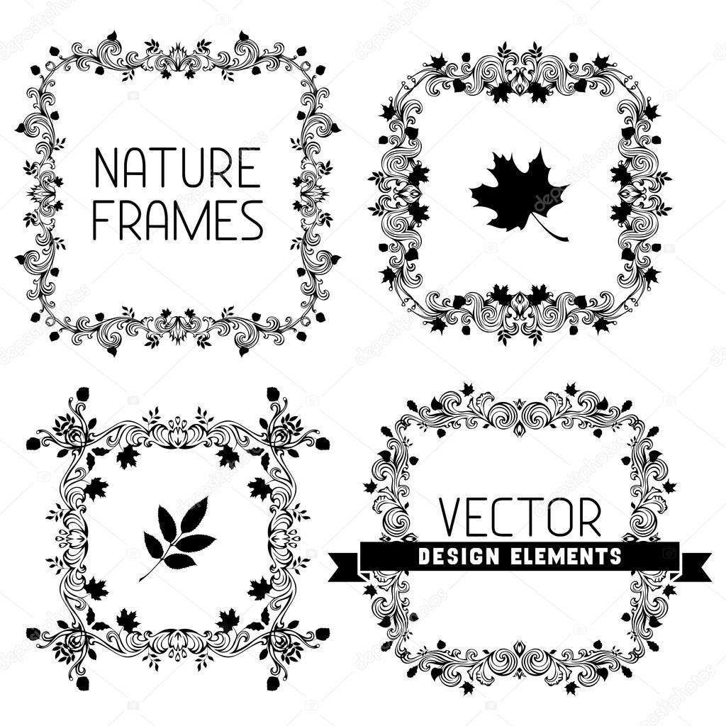Vector conjunto de marcos de naturaleza caligráfico — Archivo ...