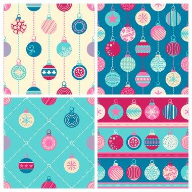Four Christmas seamless patterns