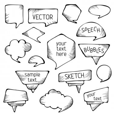 Hand-drawn pencil speech bubbles.