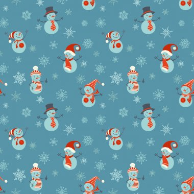 Seamless Christmas pattern with snowmen and snowflakes.