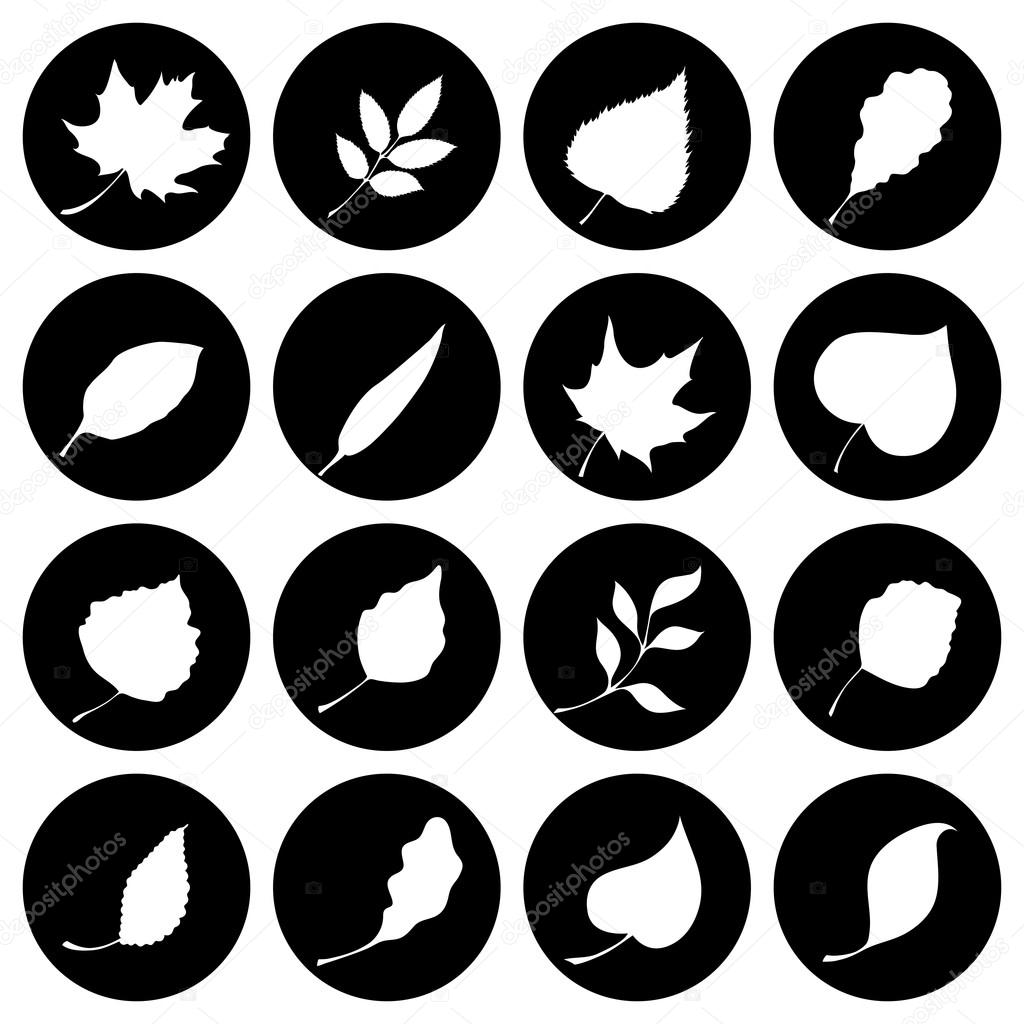 Set of round nature icons.