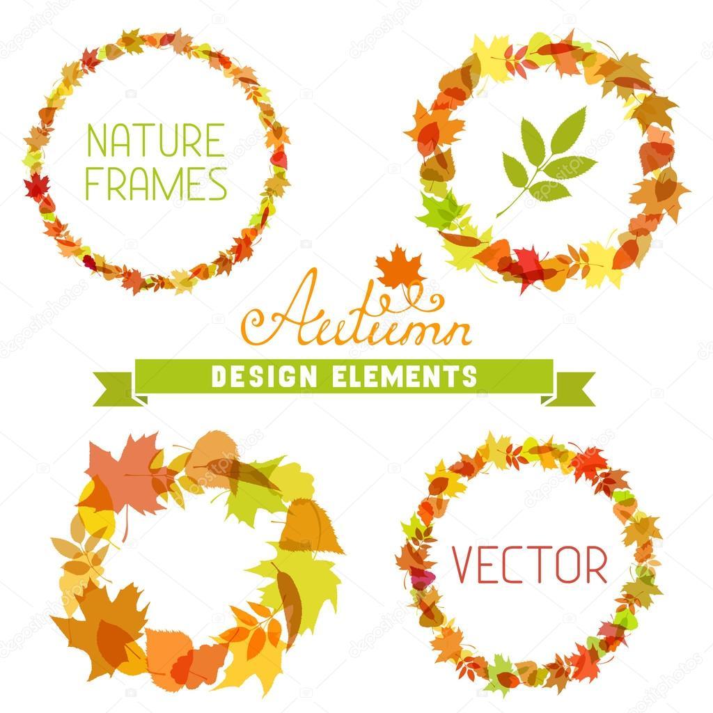 Set of autumn frames on white background.