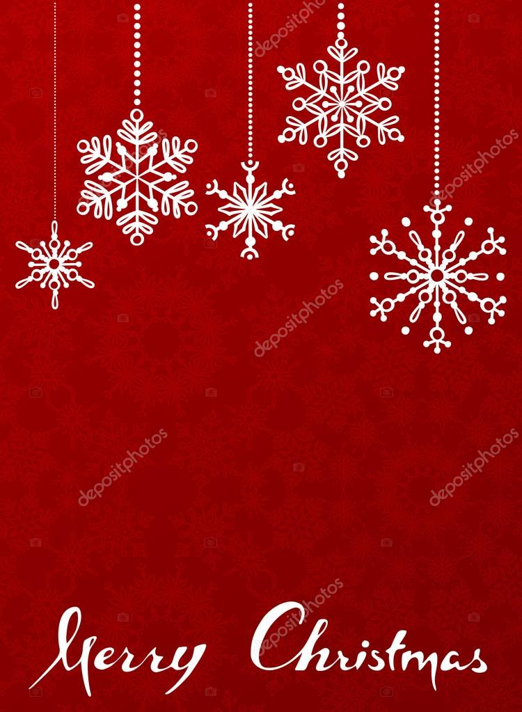 Red Christmas background with hanging snowflakes.