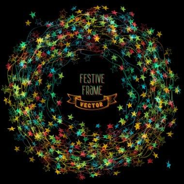 Colourful frame of Christmas lights.