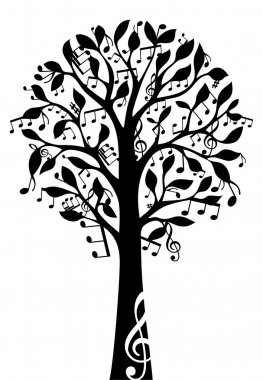 Black music tree isolated on white background