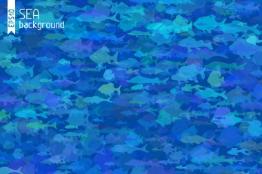 Blue fish background.