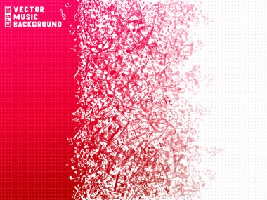 Red and white music background.