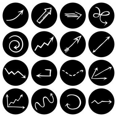 Black and white round pictograms.
