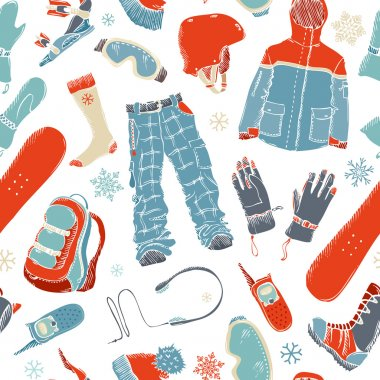 Seamless pattern of snowboard gear.