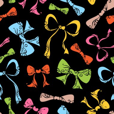 Ornate bows seamless pattern.