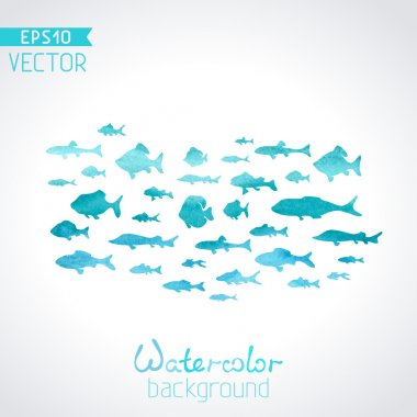 Vector watercolor fish on light background. Blue watercolour background. There is place for your text. clip art vector