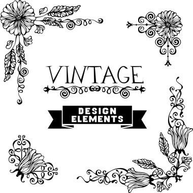 Set of black floral vintage corners