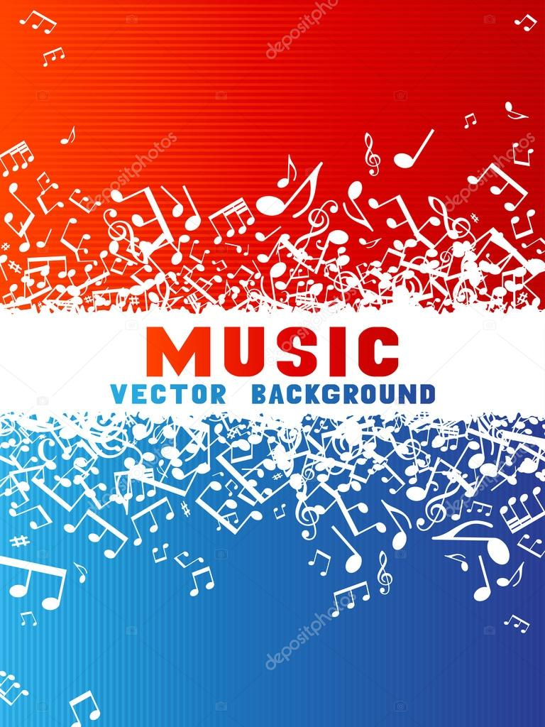 Red and blue music background.