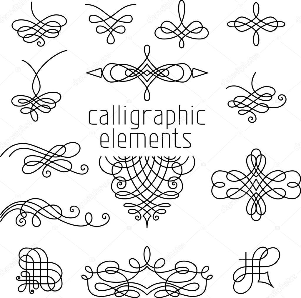Calligraphic Design Elements Stock Vector Alexvector