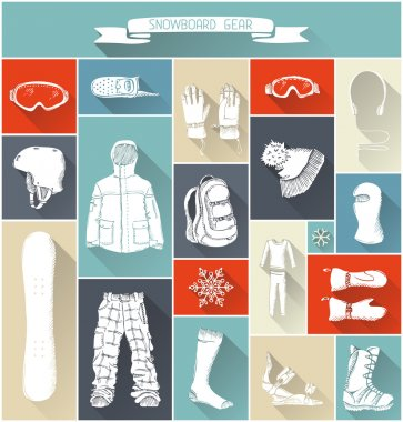 Vector set of snowboard gear silhouettes.