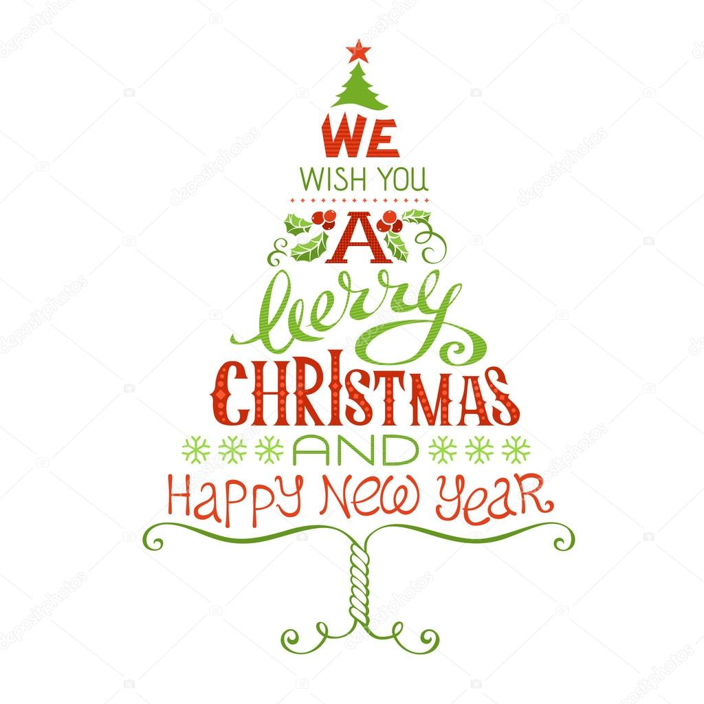 we wish you a merry christmas and happy new year stock vector