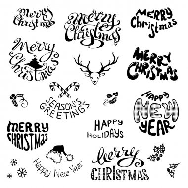 Christmas icons and festive elements.