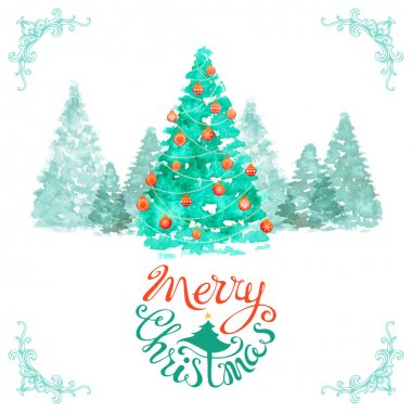 Watercolor Christmas background.