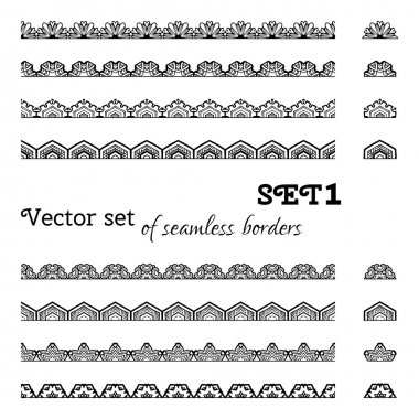 Vector set of seamless borders.