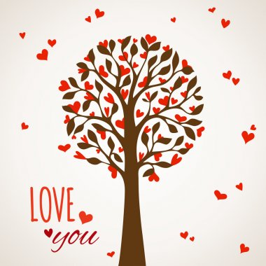 Love tree on light background.