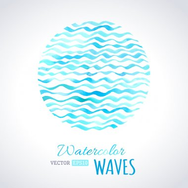 Watercolor waves background.
