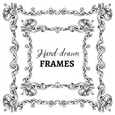 Vector set of hand-drawn vintage frames.