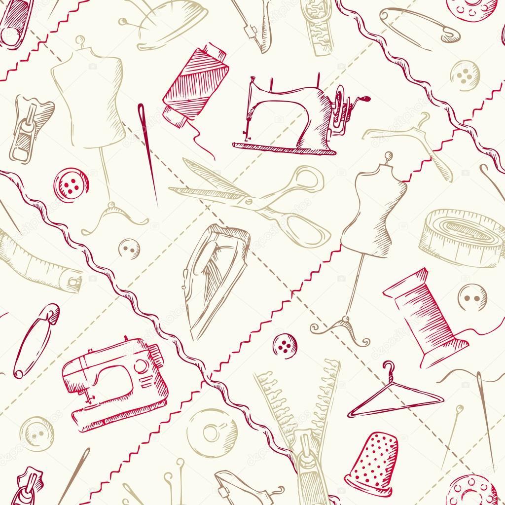 Nahtlose Muster Nähen Elemente — Stockvektor © AlexVector #64487657