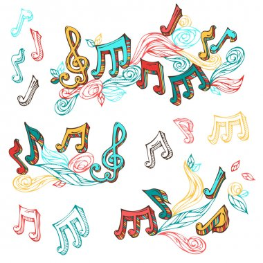 Vector set of  bright retro music page decorations.