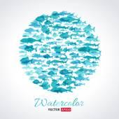 Fotografie Vektor Aquarell Fisch Hintergrund
