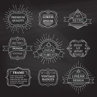 Vector set of linear chalk badges, labels, logo templates and frames.