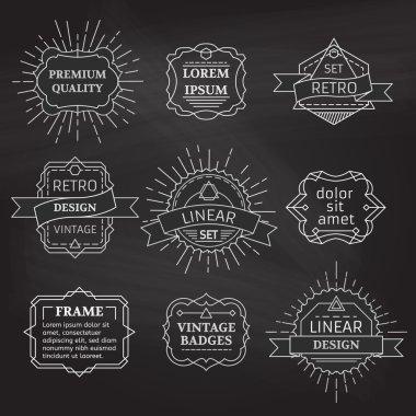 Vector set of linear chalk badges, labels, logo templates and frames.