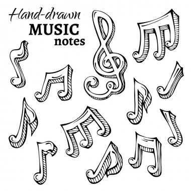 Vector set of sketch music icons.