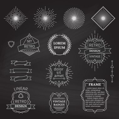 Set of vector chalk linear design elements.