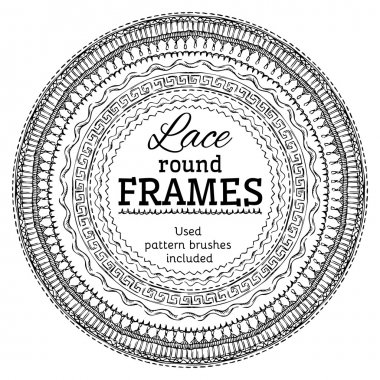 Vector set of lace round frames.