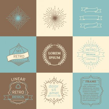 Vector set of outline design elements.