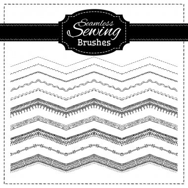 Vector set of sewing brushes.