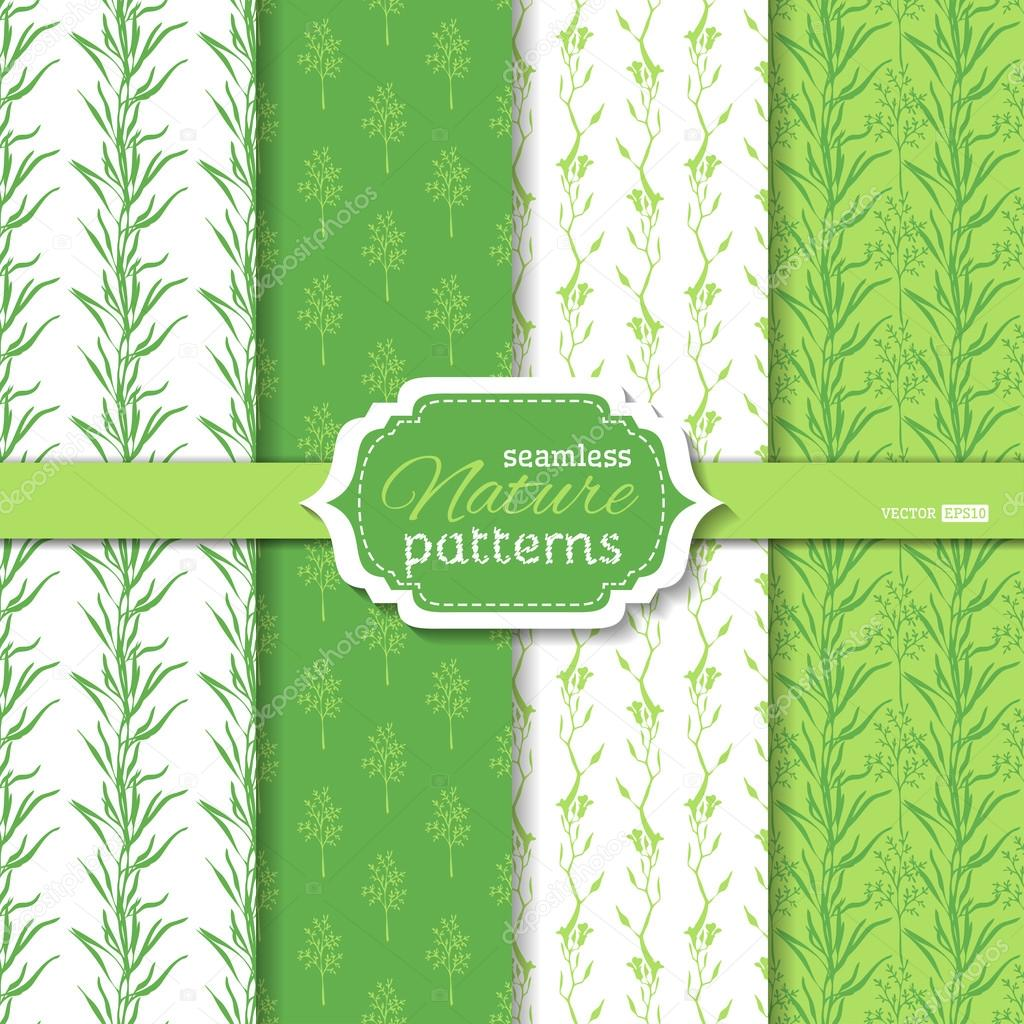 Set of seamless duotone nature patterns.