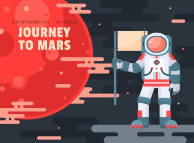 Mars colonization project poster with astronaut holding flag. Mars planet exploration concept vector illustration. Astronaut in space. First travel to Mars. Astronaut going to visit red planet. Modern flat style design