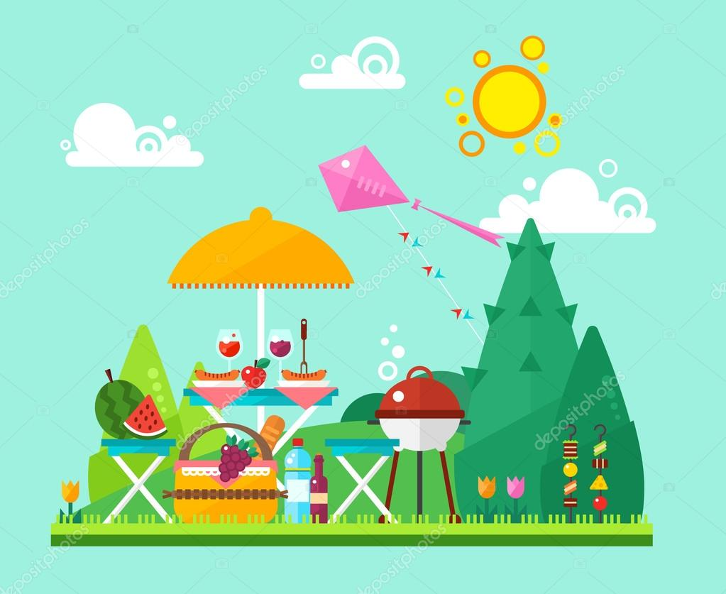 Flat summer picnic landscape: umbrella, basket with food, fruits, kite, watermelon, barbecue. Vector illustration in flat trendy style