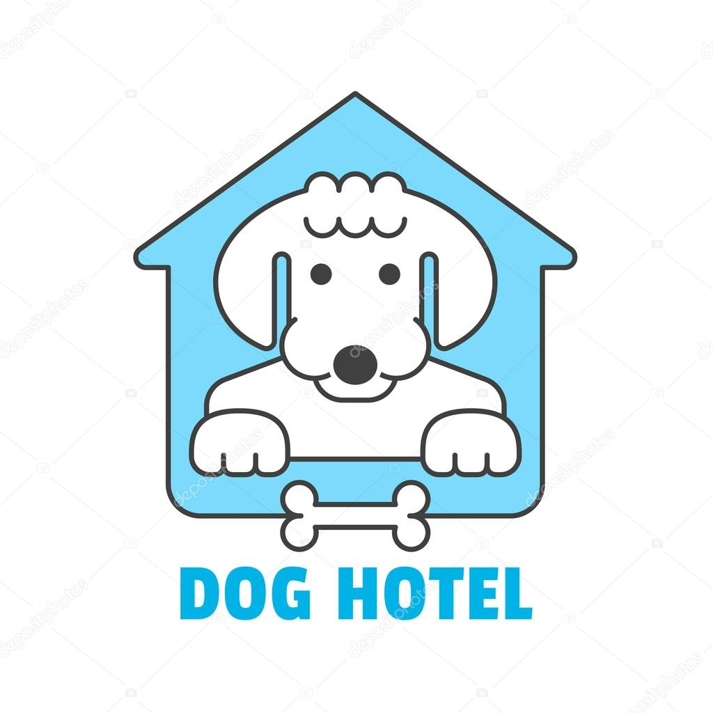 Dog hotel logo template in outline thin style for pet shop, hotel ...