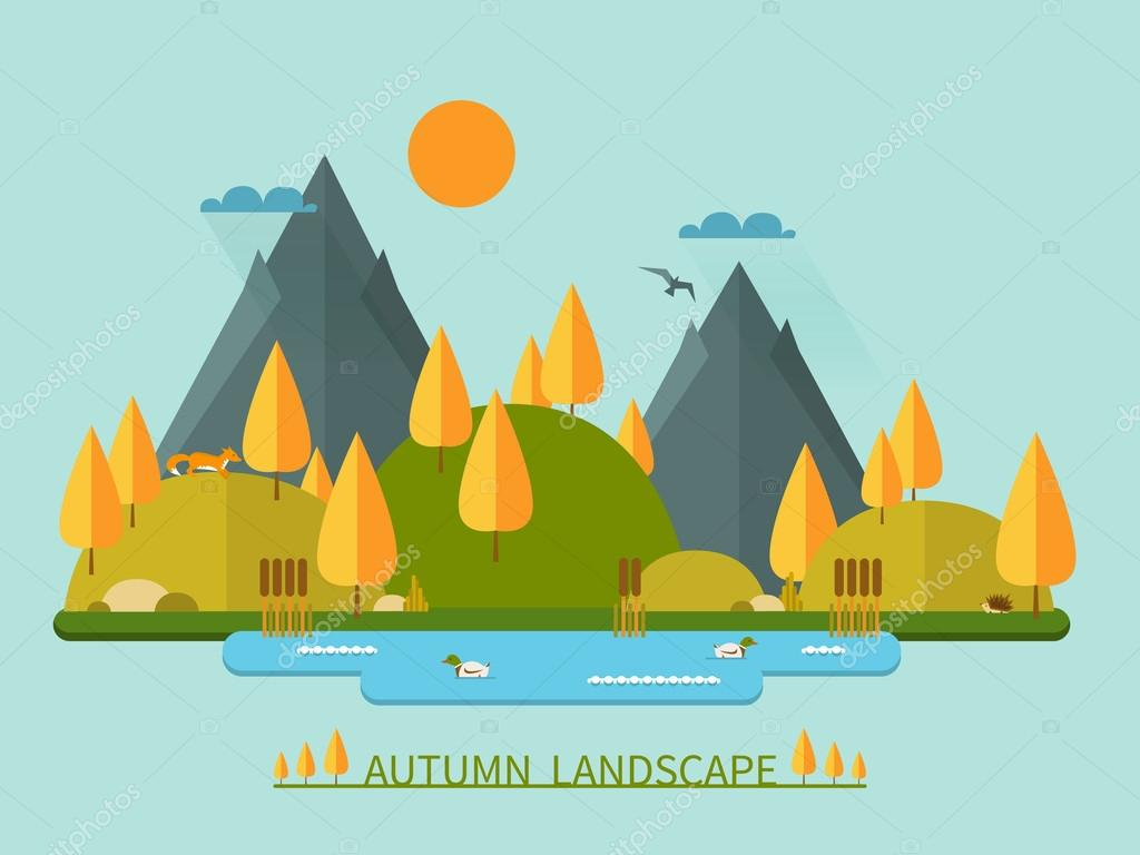 Flat autumn nature landscape vector illustration