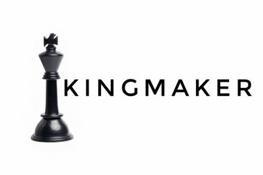 Levitation chess king with the word kingmaker.