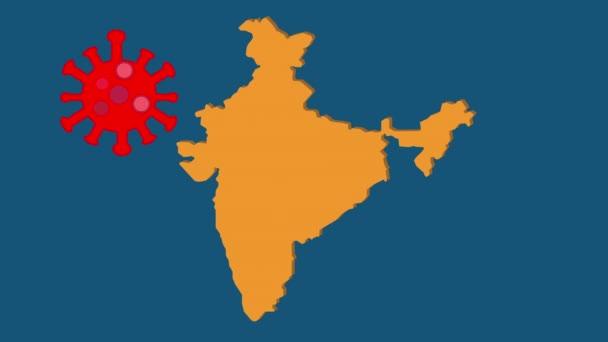 Eine Animation von Indien-Karte mit Gefahrenband, Coronavirus, neuer Variante B1617 und Indien-Lockdown-Wort. Indien rät, sein Land auszusperren, um die Ausbreitung der neuen Coronavirus-Variante zu verhindern.