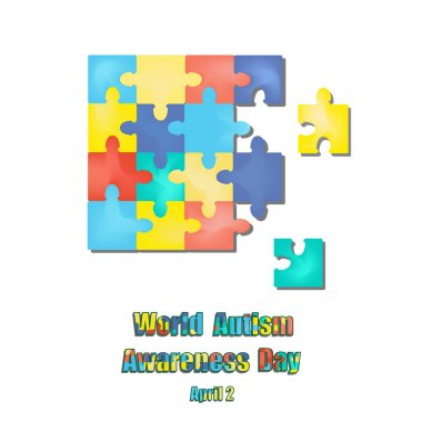 2 April as World Autism Day. Color Puzzles. Vector illustration on isolated background