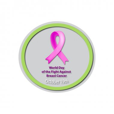Day Against Breast Cancer - 19 October. Pink ribbon cancer. Mammary cancer. Baner. Vector illustration on isolated background