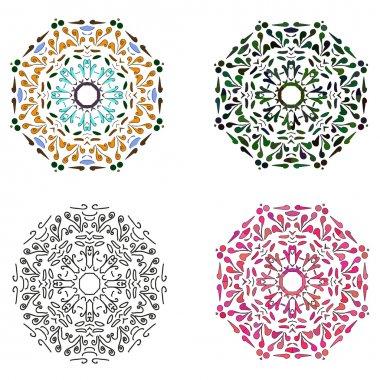 Set of four circular patterns