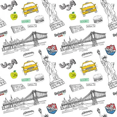 New York city seamless pattern with Hand drawn sketch taxi, hotdog, burger, statue of liberty, newspaper, manhatan bridge. Drawing doodle vector illustration, isolated on white