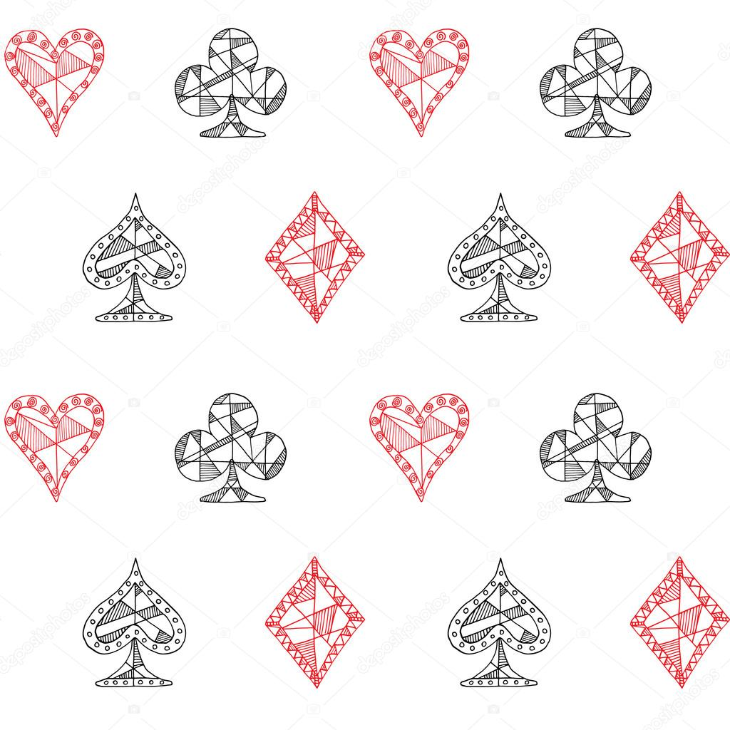 Hand drawn sketched playing cards symbol seamless pattern poker hand drawn sketched playing cards symbol seamless pattern poker blackjack background doodle hearts biocorpaavc